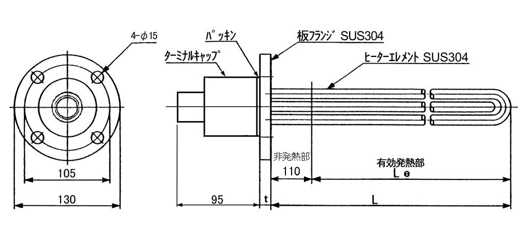 図1 PLA5型空気加熱用板フランジヒーター外形寸法