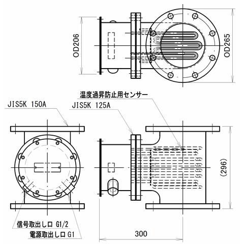 図1 空気加熱用配管インラインヒーター SAT型