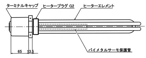 図3 GA5型 バイメタルサーモ組込の例)