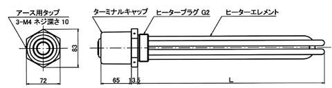 標準キャップ付ネジ込みヒーター概略図(GK5・GA5型)