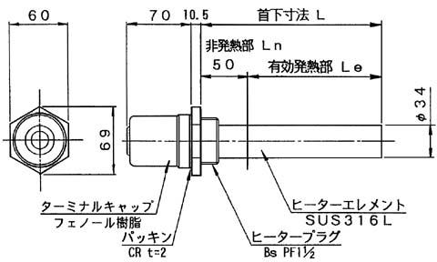 図1 GXT4型ヒーター外形図