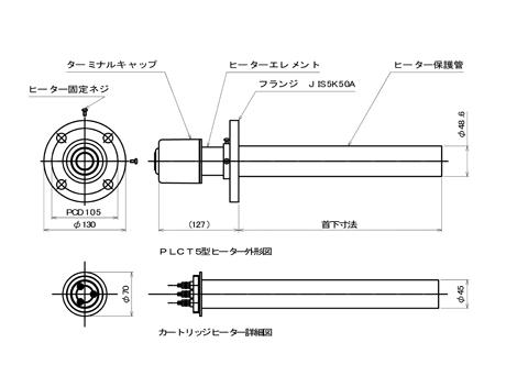 図1 カートリッジ式筒型ネジ込みヒーター 外形図