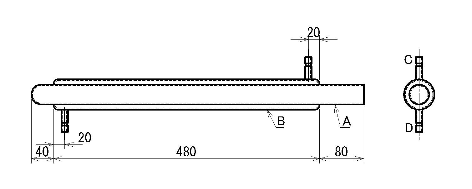 図3 透明石英三重管式熱交換器 外形図