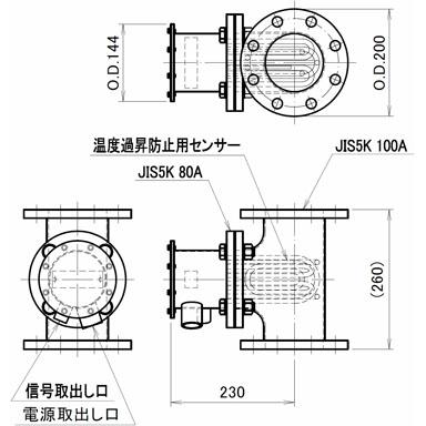 図1 液体加熱用配管インラインヒーター SLTL10型