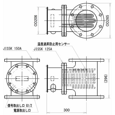 図2 液体加熱用配管インラインヒーター SLTL15型