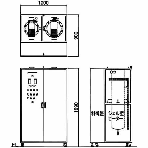 図2 参考図 3相200V120kW 2連式 IN・OUT管継手G1(25A)