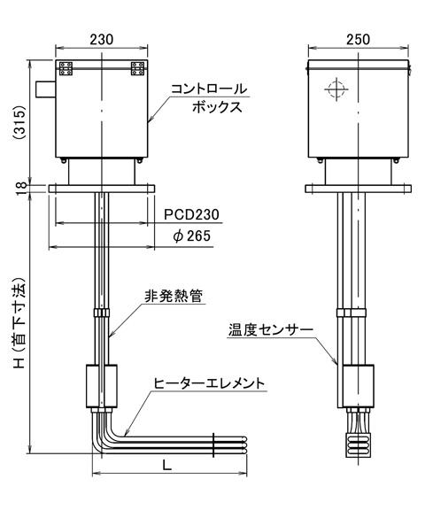図1 YSL型ヒーター寸法